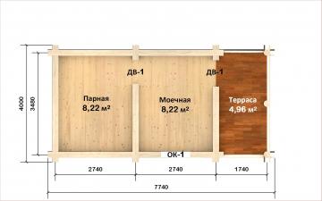 Планировка сруба СТ-9 6х4 из бревна