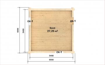 Планировка сруба СТ-11 6х6 из бревна