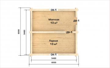 Планировка сруба СТ-12 6х6 из бревна