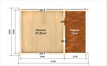 Планировка сруба СТ-13 6х6 из бревна
