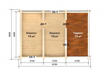 Планировка сруба СТ-14 6х6 из бревна