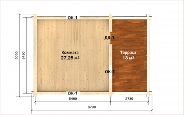 Планировка сруба СТ-16 6х6 из бревна