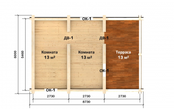 Планировка сруба СТ-17 6х6 из бревна