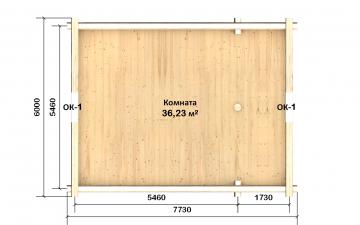 Планировка сруба СТ-31 6х8 из бревна