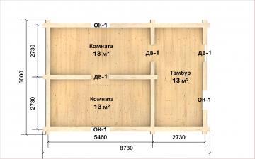 Планировка сруба СТ-42 6х9 из бревна