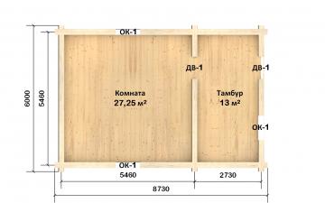 Планировка сруба СТ-43 6х9 из бревна