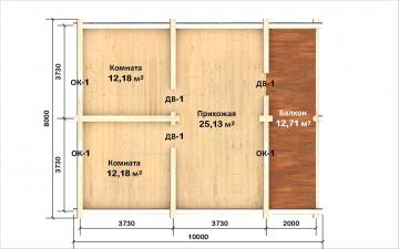 Планировка сруба СТ-56 8х8 из бревна
