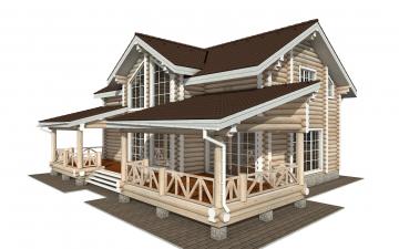 Фото #1: Красивый деревянный дом РС-154 из бревна