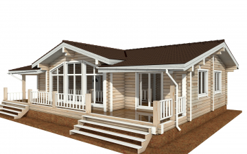 Фото #1: деревянный дом ПДБ-63 из клееного бруса купить за 8979351 (цена «Под ключ»)