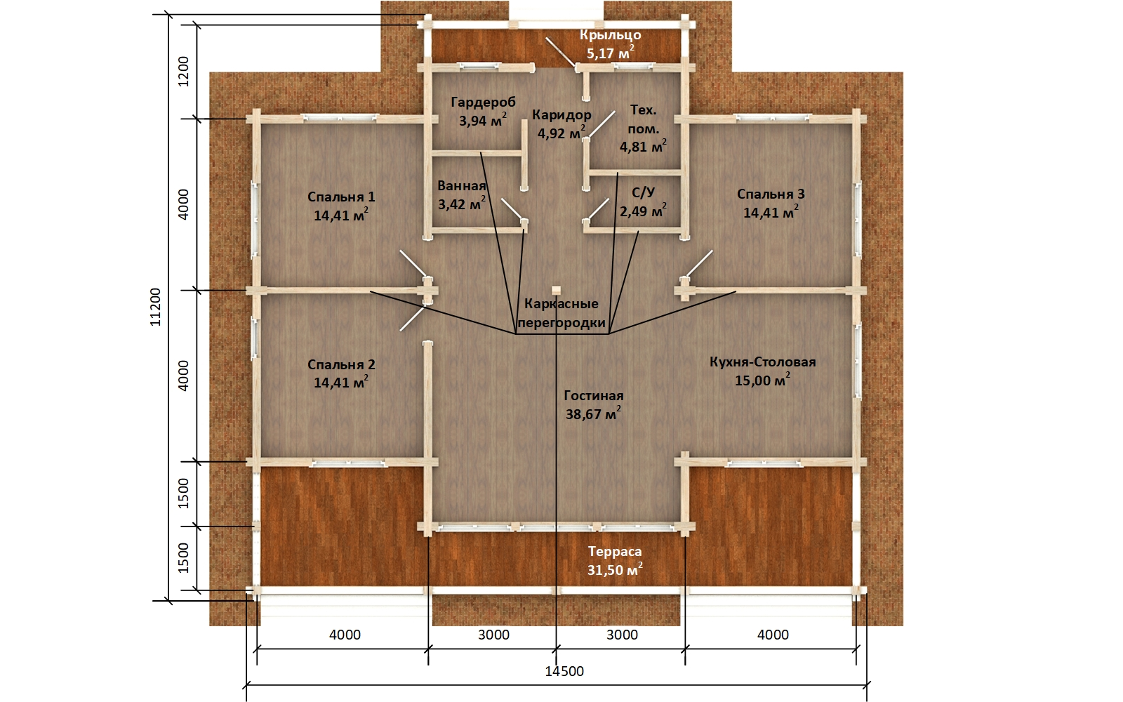 Фото #5: деревянный дом ПДБ-63 из клееного бруса купить за 8979351 (цена «Под ключ»)