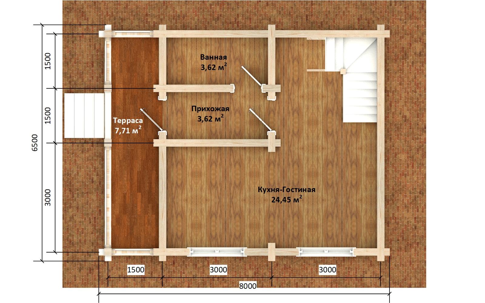 Фото #5: деревянный дом ПДБ-64 из клееного бруса купить за 7080194 (цена «Под ключ»)