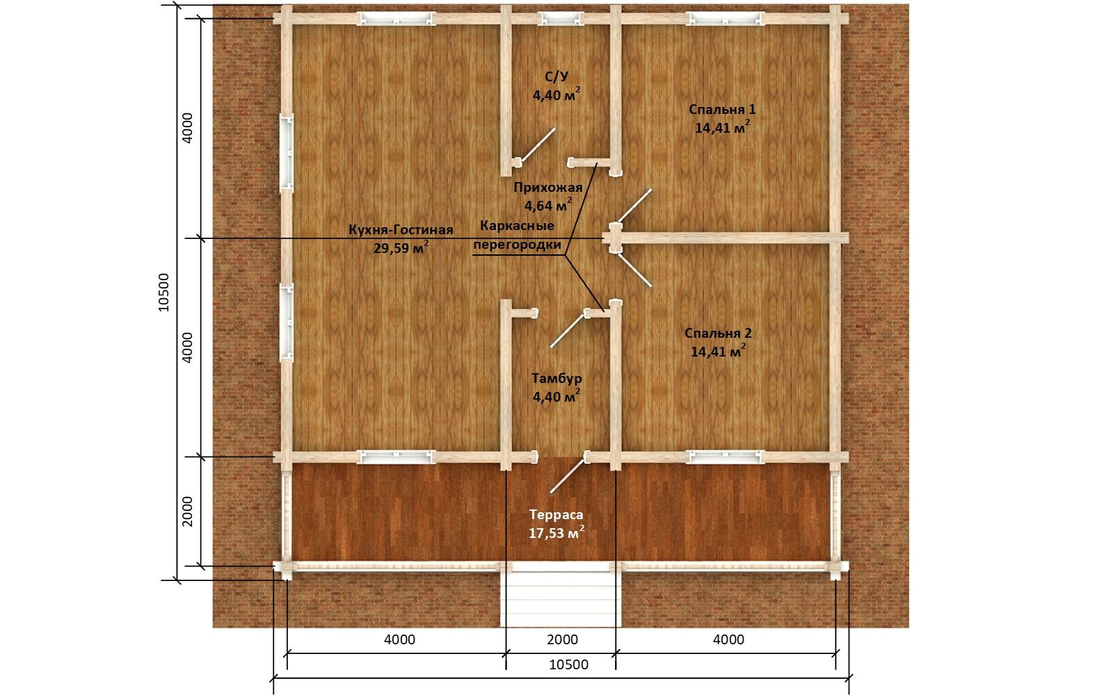 Фото #5: деревянный дом ПДБ-65 из клееного бруса купить за 8011498 (цена «Под ключ»)