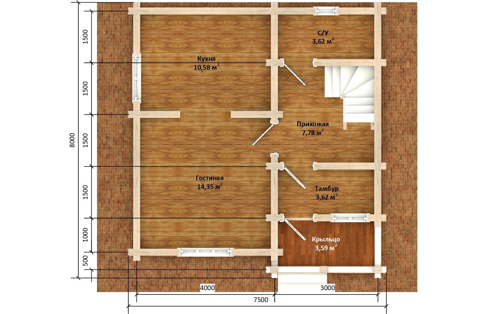 Фото #5: деревянный дом ПДБ-66 из клееного бруса купить за 8077921 (цена «Под ключ»)