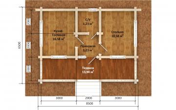 Фото #5: деревянный дом ПДБ-67 из клееного бруса купить за 4301693 (цена «Под ключ»)