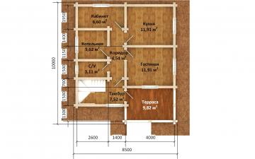 Фото #5: деревянный дом ПДБ-68 из клееного бруса купить за 10596603 (цена «Под ключ»)