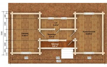 Фото #5: деревянный дом ПДБ-70 из клееного бруса купить за 5880759 (цена «Под ключ»)