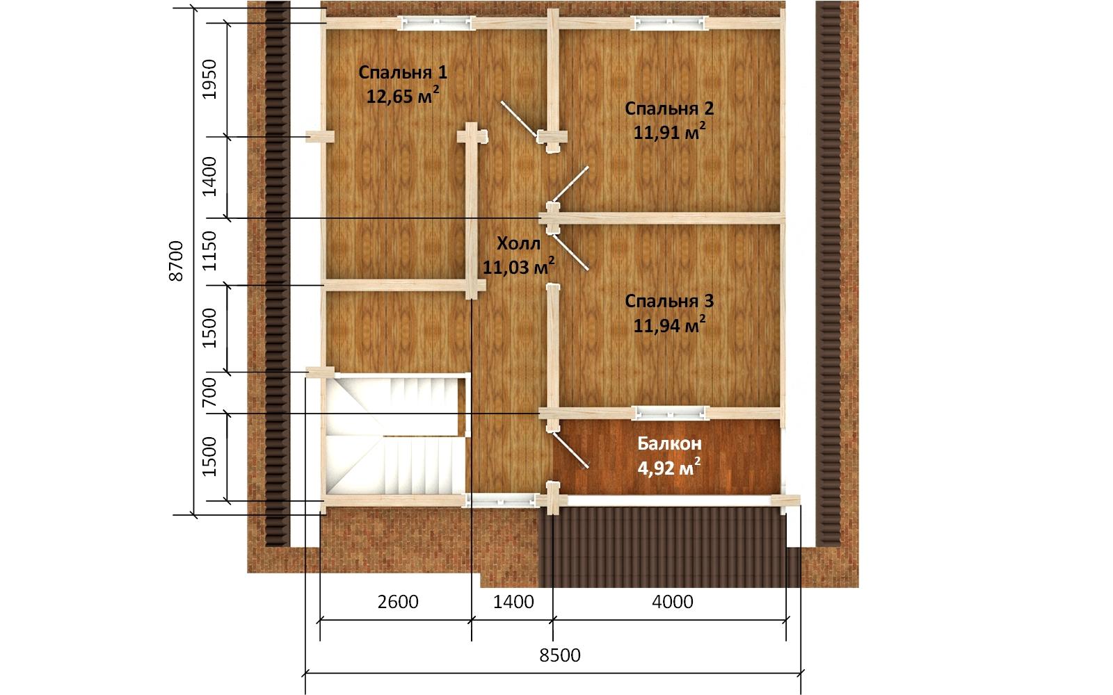 Фото #6: деревянный дом ПДБ-68 из клееного бруса купить за 10596603 (цена «Под ключ»)