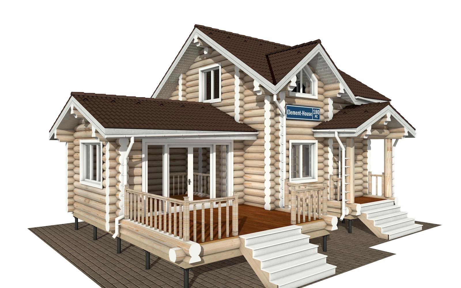 РС-180 - Проект дома из бревна с мансардой