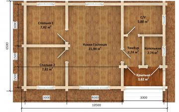Фото #5: деревянный дом ПДБ-72 из клееного бруса купить за 6031949 (цена «Под ключ»)