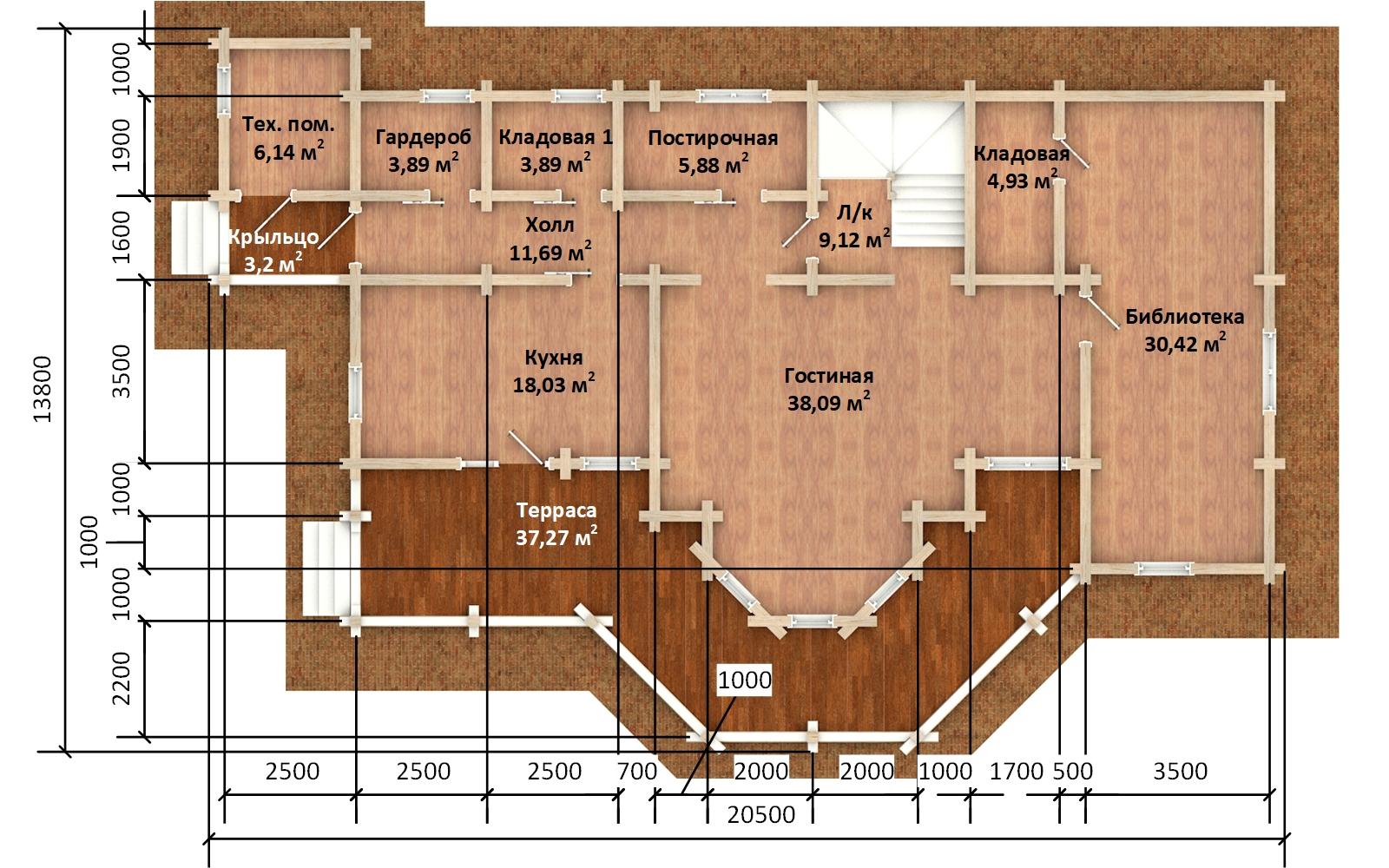 Фото #3: деревянный дом ПДБ-73 из клееного бруса купить за 30945613 (цена «Под ключ»)