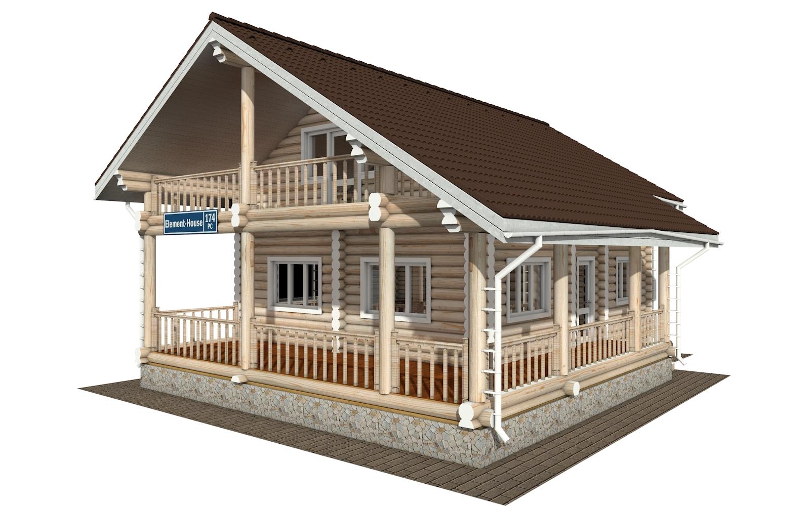 РС-174 - Проект дома из бревна с мансардой