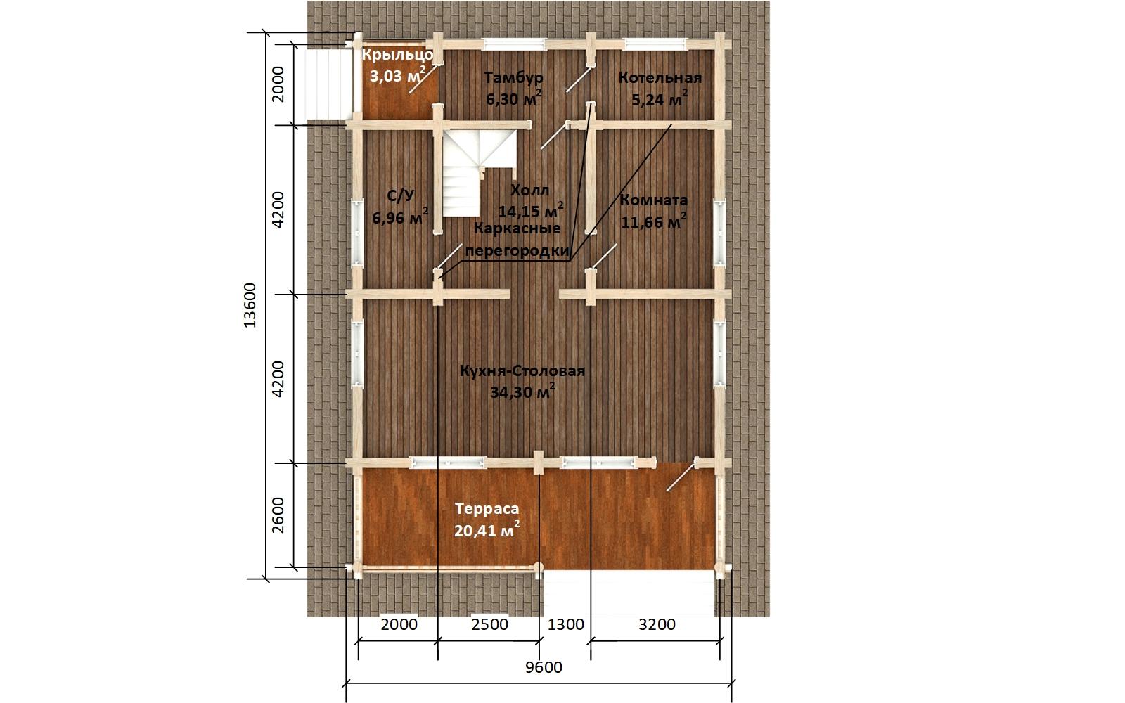 Фото #3: Красивый деревянный дом РС-173 из бревна