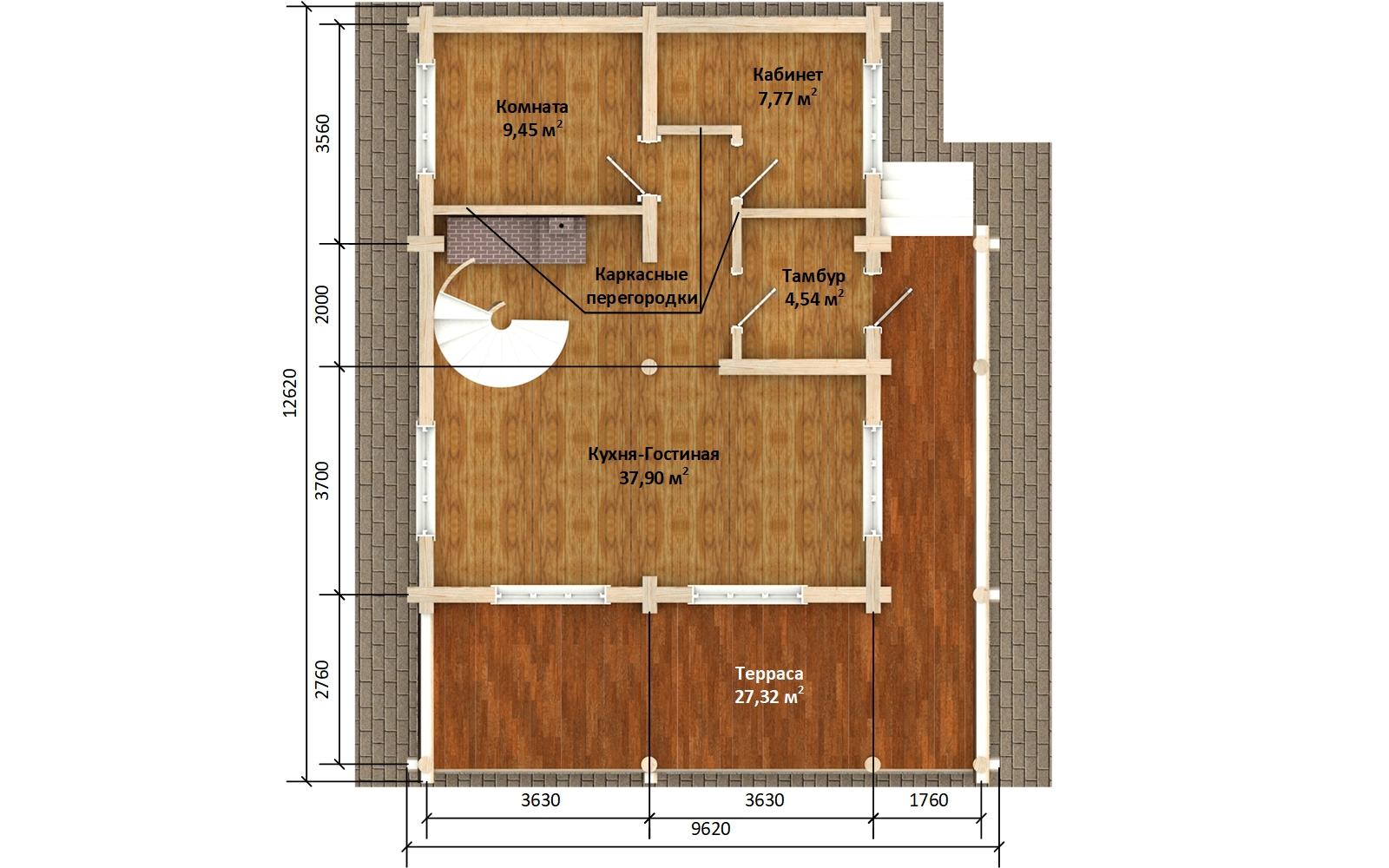 Фото #3: Красивый деревянный дом РС-174 из бревна