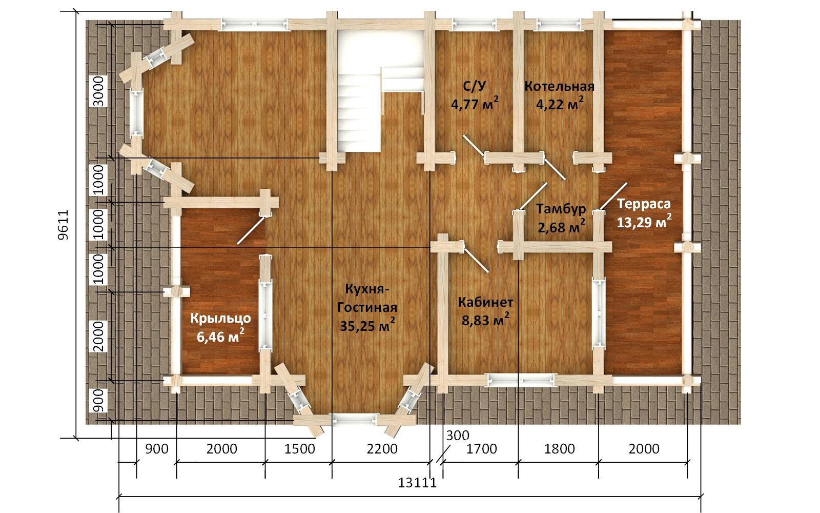 Фото #3: Красивый деревянный дом РС-172 из бревна