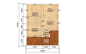 Планировка сруба СТ-77 10 на 10 из бревна